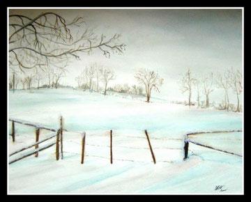 Paysage  sous la neige, aquarelle.D.Petit