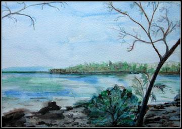 Au bord du lac, aquarelle. D. Petit