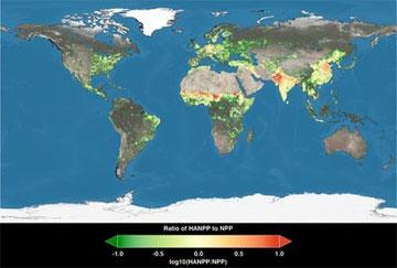 Sfruttamento della terra per usi umani: le parti rosse sono le aree in cui la popolazione consuma più di quello che la terra può produrre -fonte NASA
