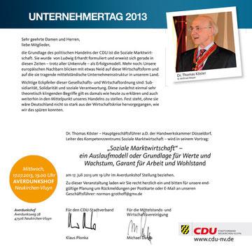 Einladung zum Unternehmertag der CDU 2013