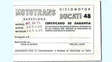 Certificado de Garantia para un modelo M.T. 50TT