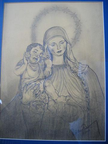 Muttergottes mit Jesukind - mit Bleistift gezeichnet 2002