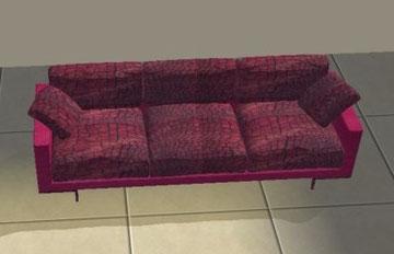 Canapé lézard rose (création de Vitasims)