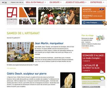 Site de l'écomusée d'Alsace - Les samedis de l'artisanat - Juillet et septembre 2011