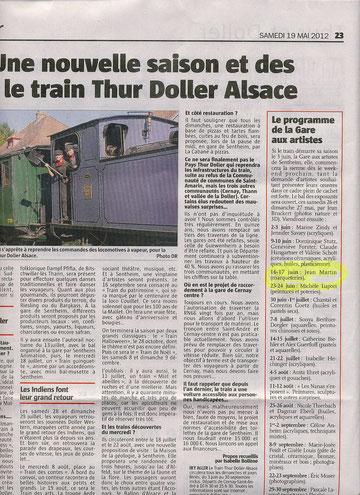 Journal l'Alsace du 19 mai 2012 gare aux artistes