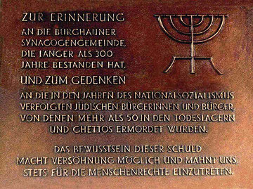 1994 im Durchgang zum Schlosshof angebrachte Gedenktafel
