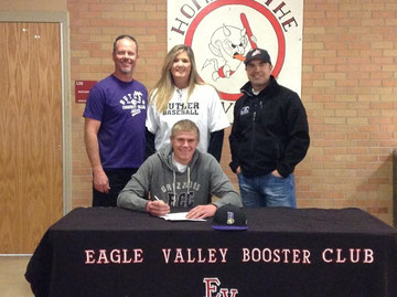 Travis Edgar of Eagle Valley HS Colorado signing NLOI National Letter of Intent to attend Butler CC Kansas in the Fall of 2014