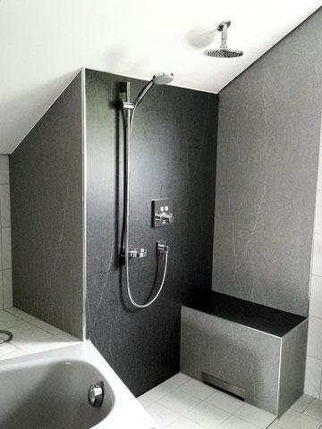 HPL Duschrückwände, Wandplatten fugenlos, fugenlose Duschwände mit HPL