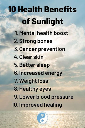 10 Health Benefits of Sunlight listed over the ocean reflecting sunshine
