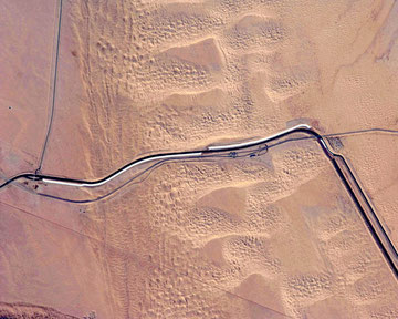 All-American Canal on California-Mexico border. The image was acquired by ISS, NASA. ©NASA-JSC. Click on this picture.