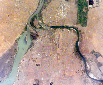 "Sudan, Khartoum, translates as ""Elephant's Trunk."" The name describes the shape of the Nile where the Blue and the White Nile Rivers unite to form the single Nile River that flows northward into Egypt. The image was acquired by ISS. ©NASA-JSC."