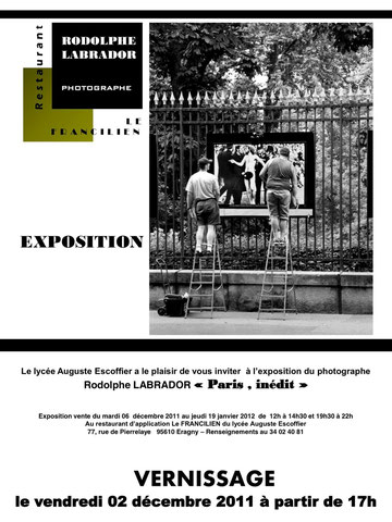 Visite de l'exposition du 2décembre 2011 au 19 janvier au lycée Auguste Escoffier, 77 rue Pierrelaye 95610 Eragny - Renseignement au 01 34 01 40 81.