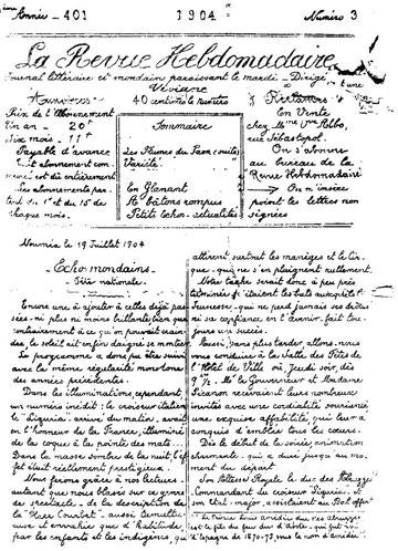 D38 - La Revue Hebdomadaire : page de garde du seul exemplaire observé