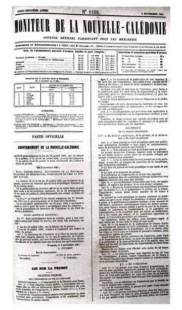 D23 - Le Moniteur du 9 novembre 1881 : publication de la loi sur la presse.