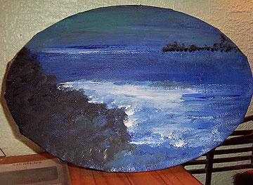 Küstenlandschaft i.d.Dämmerung, gemalt am 21.11.08