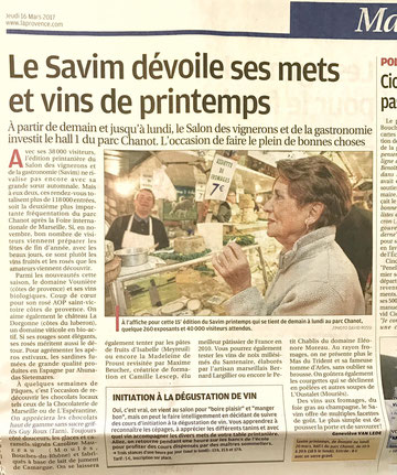 La provence, SAVIM Marseille, 2016, vin, gastronomie, presse