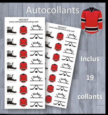 Conception N, autocollant, hockey, hiver, sport