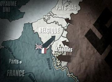 Les Allemands poindront où on les attend le moins, dans les Ardennes... Au total, quatre-vingts divisions franchiront les frontières de la Hollande, de la Belgique et du Luxembourg...