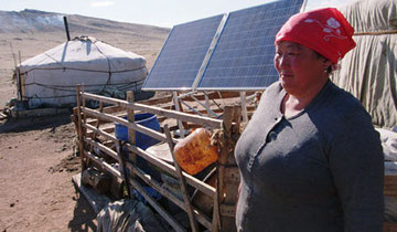 Example of a larger solar home system for a Mongolian family