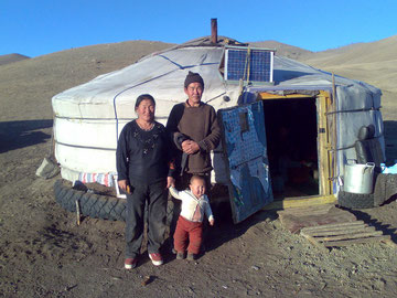 Mongolian family proud of the newly installed solar home system