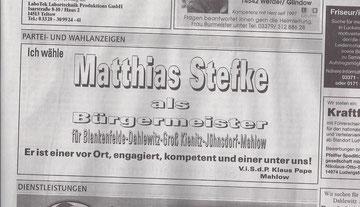 Klaus Pape, Mahlow (MAZ/Zossener Rundschau 10.9.2011)