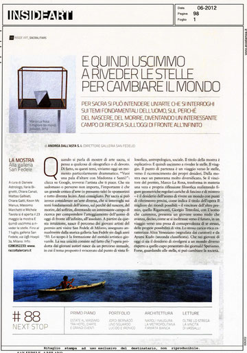 Andrea Dall'Asta - INSIDEART - Giugno 2012