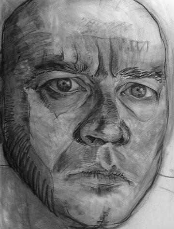 Raul. Carboncillo sobre lienzo. 145 x 115 cm.