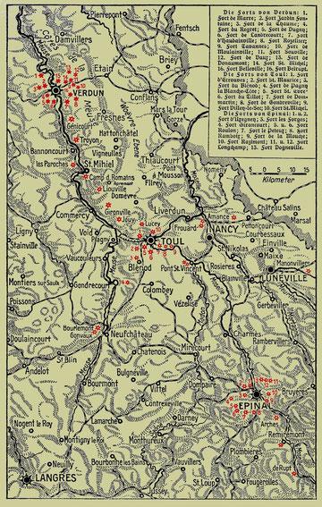 Übersichtskarte der Forts um Verdun und Umgebung