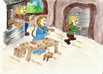 """Illustration aus dem Kinderbilderbuch """"Jori, der kleine Troll – Der erste Schultag"""""""