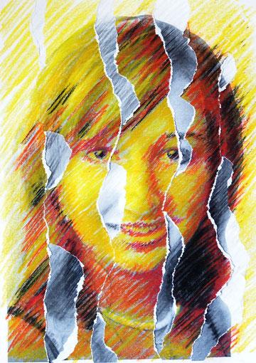 Selbstportrait - Kreide und Ölpastellkreiden auf zerrissenem Papier