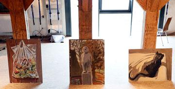Die Gemälde von Hinnerk Bodendieck aus Hamburg sind gerade angekommen.