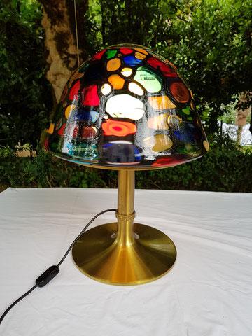 Angelo BROTTO Lampe en laiton et verre édition Esperia 1970