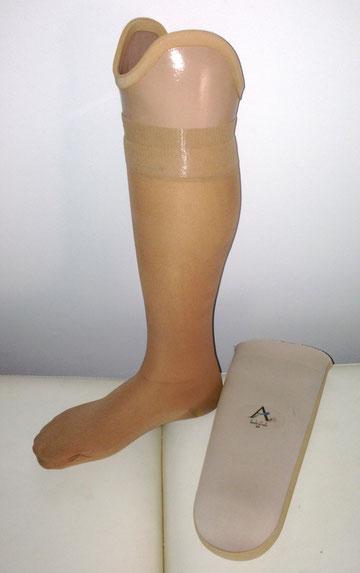 prothèse tibiale avec manchon gel