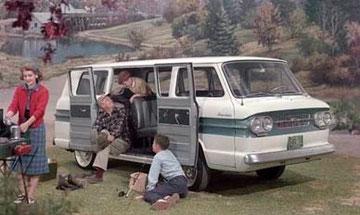 Chevrolet Corvair Greenbrier Sportswagon 1961-65 - Transporter imitatie met een luchtgekoelde motor achterin, 80-95 pk