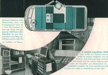 Duitse brochure voor de Westfalia Campingbox, 1953