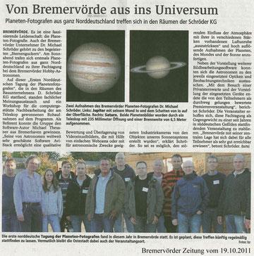 Bremervörder Zeitung vom 19.10.2011 (Anklicken zum Vergrößern)