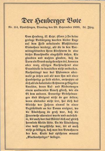 Original Zeitungsartikel von 1898