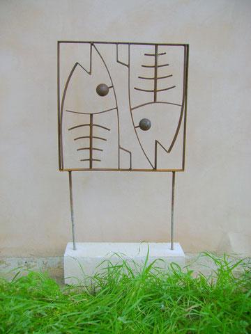 """""""FISCHPAAR"""" (Material: Eisen, Mares, Höhe:1,00m, Breite:0,50m, Preis:320€)"""