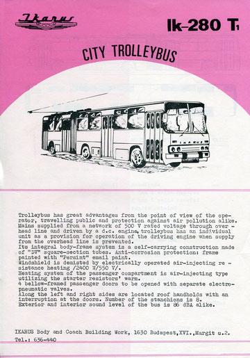 Информационная листовка по сочлененному троллейбусу Ikarus 280T1