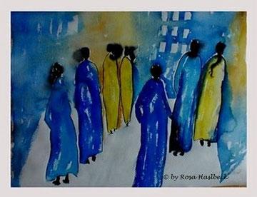 aquarell, aquarelle, menschen, leute, spaziergang, schwarz, gelb, malen, malerei, kunst, bilder, dekoration