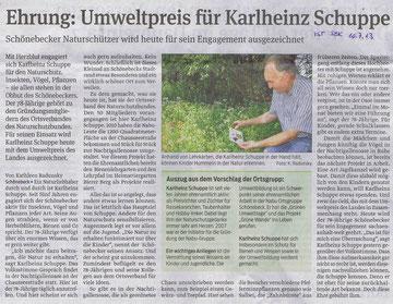Volksstimme Schönebeck vom 10. Juli 2013 (Kathleen Radunsky)