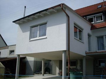 Anbau in Michelfeld - Gerüstbau, Außenputz und Fassadenanstrich