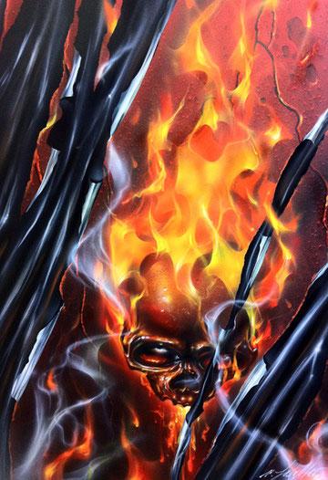 Alla Scuola delle Arti, workshop di aerografo, corso di aerografia, fiamme vere, true fire, true flames