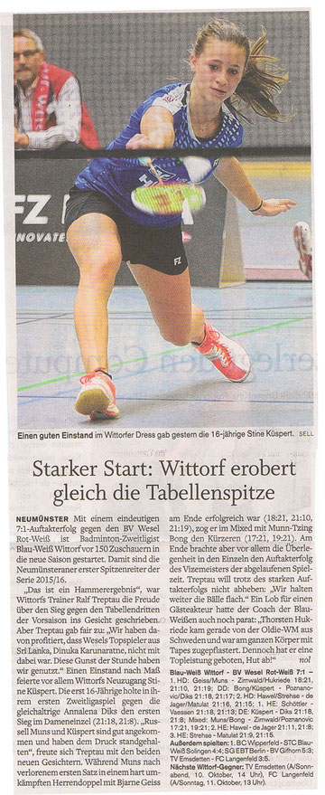 1. Spieltag 2015/2016, Holsteinischer Courier vom 28.09.2015