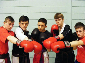 BCKA's young fighters prepare to take on the Clash of the Titans - Kieren Wilson, Jack Bristowe, Nikolai Milanov, Daniel Laing, Lewis Gemmill