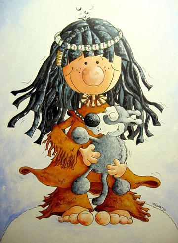 Fellknäuel, Indinanermädchen mit Wolfswelpe