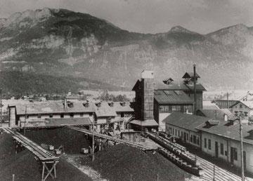 Aufarbeitungsanlage des Glanzkohlenbergbaues Häring – Kirchbichl  in Nähe des Kirchbichler Bahnhofgeländes