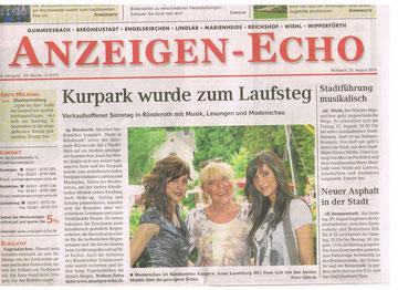 Anzeigen-Echo vom 25.08.10 kleiner Bericht über die Modenschau, woran ich teilnehmen durfte