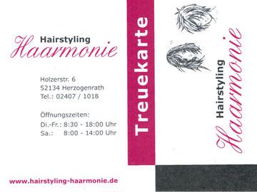Treuekarte von Hairstyling Haarmonie