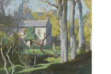 Oil on board by Lamorna Birch of Oriental Cottage